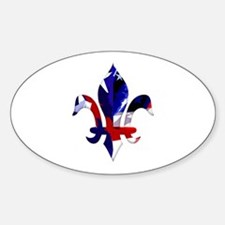 Red, white & blue Fleur de lis Oval Decal