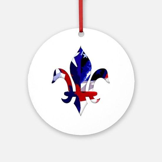 Red, white & blue Fleur de lis Ornament (Round)