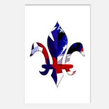 Red, white & blue Fleur de lis Postcards (Package