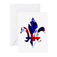 Red, white & blue Fleur de lis Greeting Cards (Pac