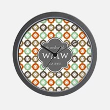 Charcoal Gray Custom Personalized Monog Wall Clock