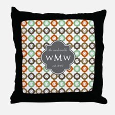 Charcoal Gray Custom Personalized Mon Throw Pillow