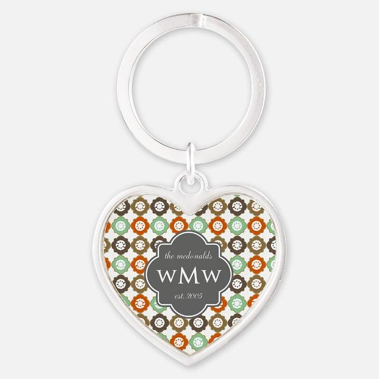 Charcoal Gray Custom Personalized M Heart Keychain