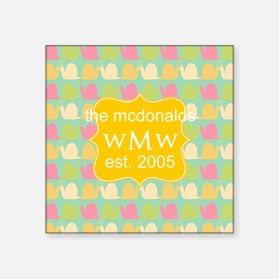 "Bright Pastel Snails Custom Square Sticker 3"" x 3"""