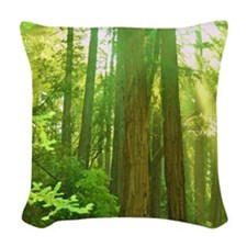 Giant redwoods Woven Throw Pillow