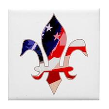 US Flag Fleur de lis Tile Coaster