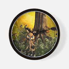 Cute cat in a fairy tale forest Wall Clock