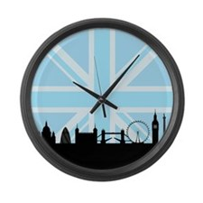 London Sites & Blue Union Jack Large Wall Clock