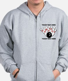 Personalized Bowling Light Zip Hoodie