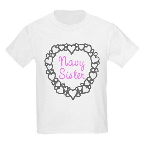 Navy Sister with Hearts Kids Light T-Shirt