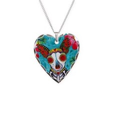Sugar Skull Chihuahua Necklace Heart Charm