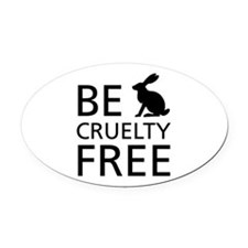 Be Cruelty-Free Bunny Logo Oval Car Magnet