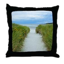 Beach Path to Lighthouse Throw Pillow