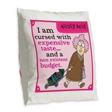 Aunty Acid: Cursed with Expens Burlap Throw Pillow