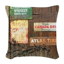 Old Signs Rustic Modern Wood Woven Throw Pillow