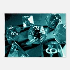 Blue Gaming Dice 5'x7'Area Rug