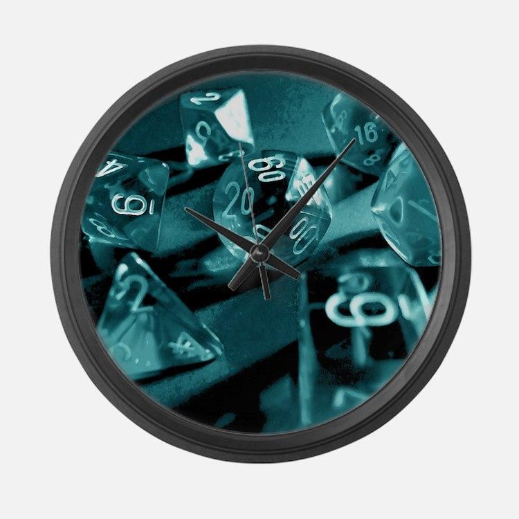 Blue Gaming Dice Large Wall Clock
