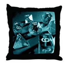 Blue Gaming Dice Throw Pillow