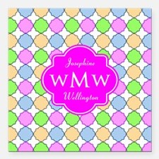 """Pink Custom Personalized Square Car Magnet 3"""" x 3"""""""