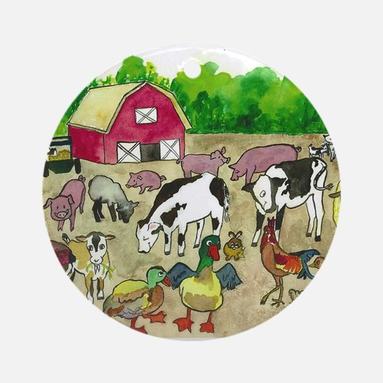 Barnyard Party Ornament (Round)