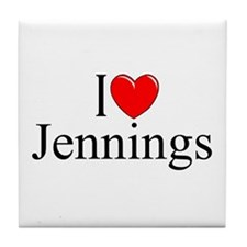 """I Love Jennings"" Tile Coaster"