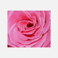 Pink Dewy Rose Throw Blanket