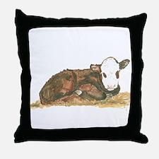 calf lying down Throw Pillow