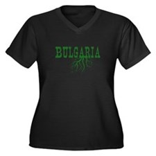 Bulgaria Roo Women's Plus Size V-Neck Dark T-Shirt