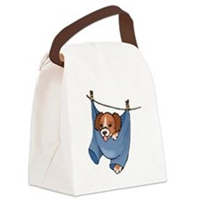Puppy On Clothesline Canvas Lunch Bag