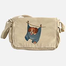 Puppy On Clothesline Messenger Bag
