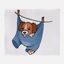 Puppy On Clothesline Throw Blanket