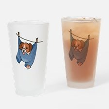Puppy On Clothesline Drinking Glass