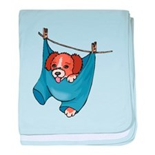 Puppy On Clothesline baby blanket