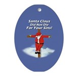 Santa Cross Ornament (Oval)