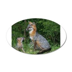 MOTHER RED FOX AND BABY Wall Decal