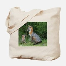 MOTHER RED FOX AND BABY Tote Bag
