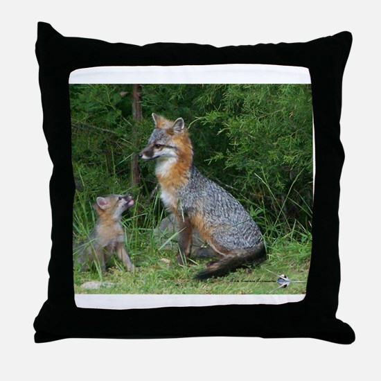 MOTHER RED FOX AND BABY Throw Pillow