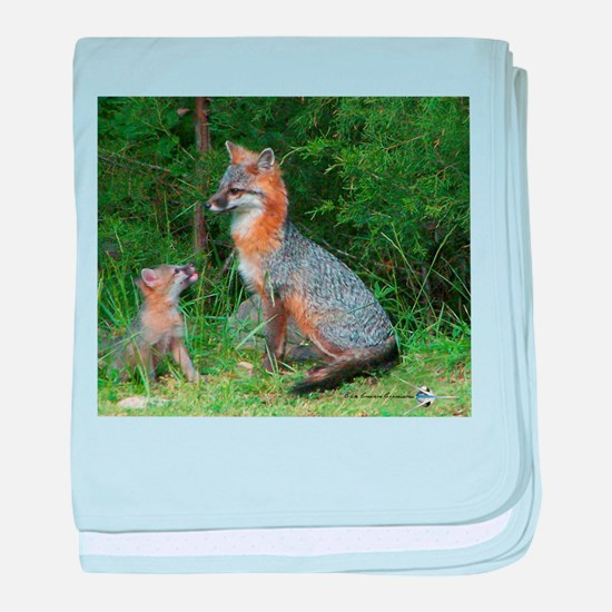 MOTHER RED FOX AND BABY baby blanket