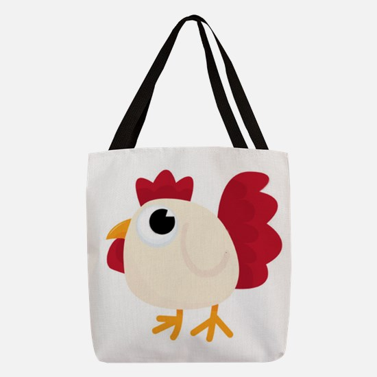 Funny White Chicken Polyester Tote Bag