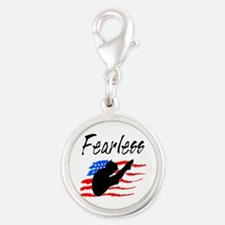 FEARLESS DIVER Silver Round Charm