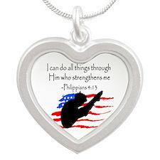 DIVER PRAYER Silver Heart Necklace
