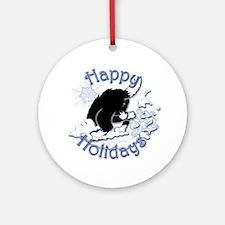 Lass & Snowflake Round Ornament