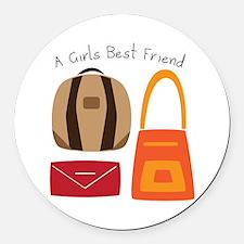 Girls Best Friend Round Car Magnet