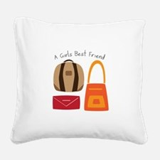 Girls Best Friend Square Canvas Pillow