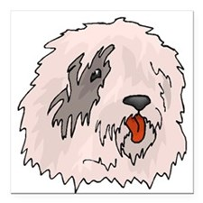 "Old English Sheepdog Square Car Magnet 3"" x 3"""