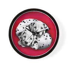 Dalmatian Dogs Hug Wall Clock