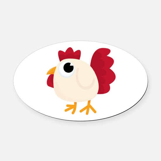 Funny White Chicken Oval Car Magnet