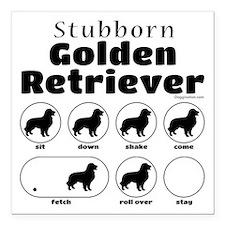 """Stubborn Golden v2 Square Car Magnet 3"""" x 3"""""""