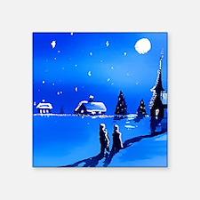 "Midnight blue Christmas Square Sticker 3"" x 3"""