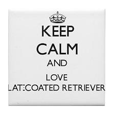 Keep calm and love Flat-Coated Retrie Tile Coaster